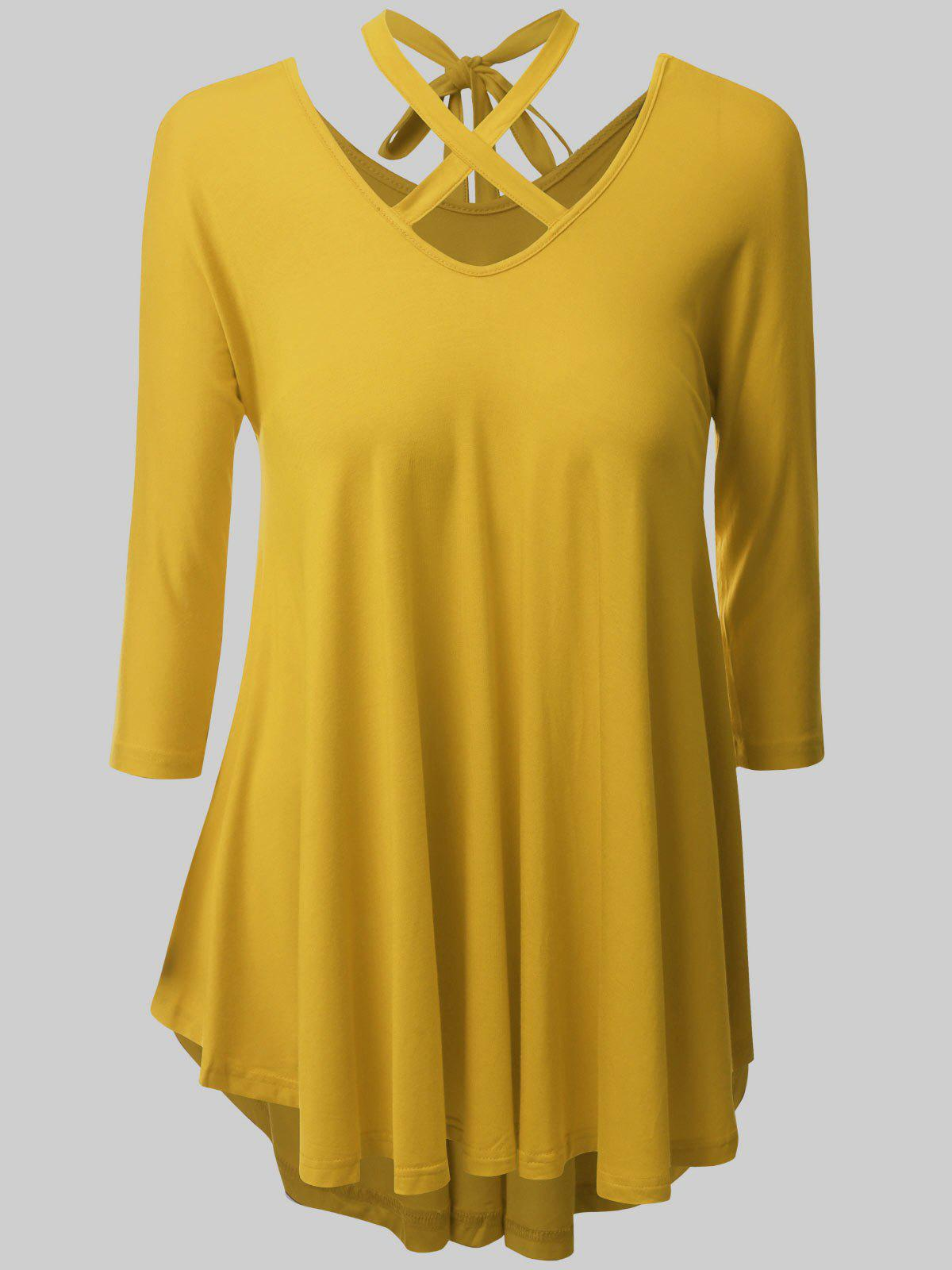 Plus Size Criss Cross High Low Tee - YELLOW 4XL
