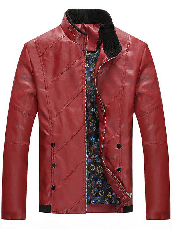 Zip Up Stand Collar Faux Leather Jacket faux fur collar zip up pu leather jacket
