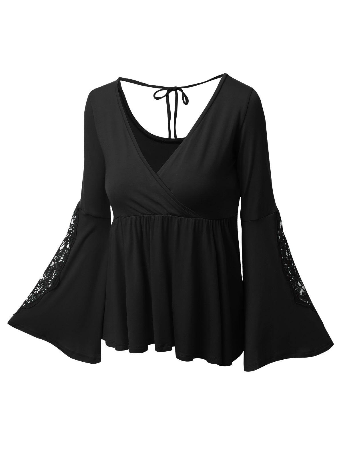 Plus Size Surplice Bell Sleeve Lace Panel Tee - BLACK 4XL