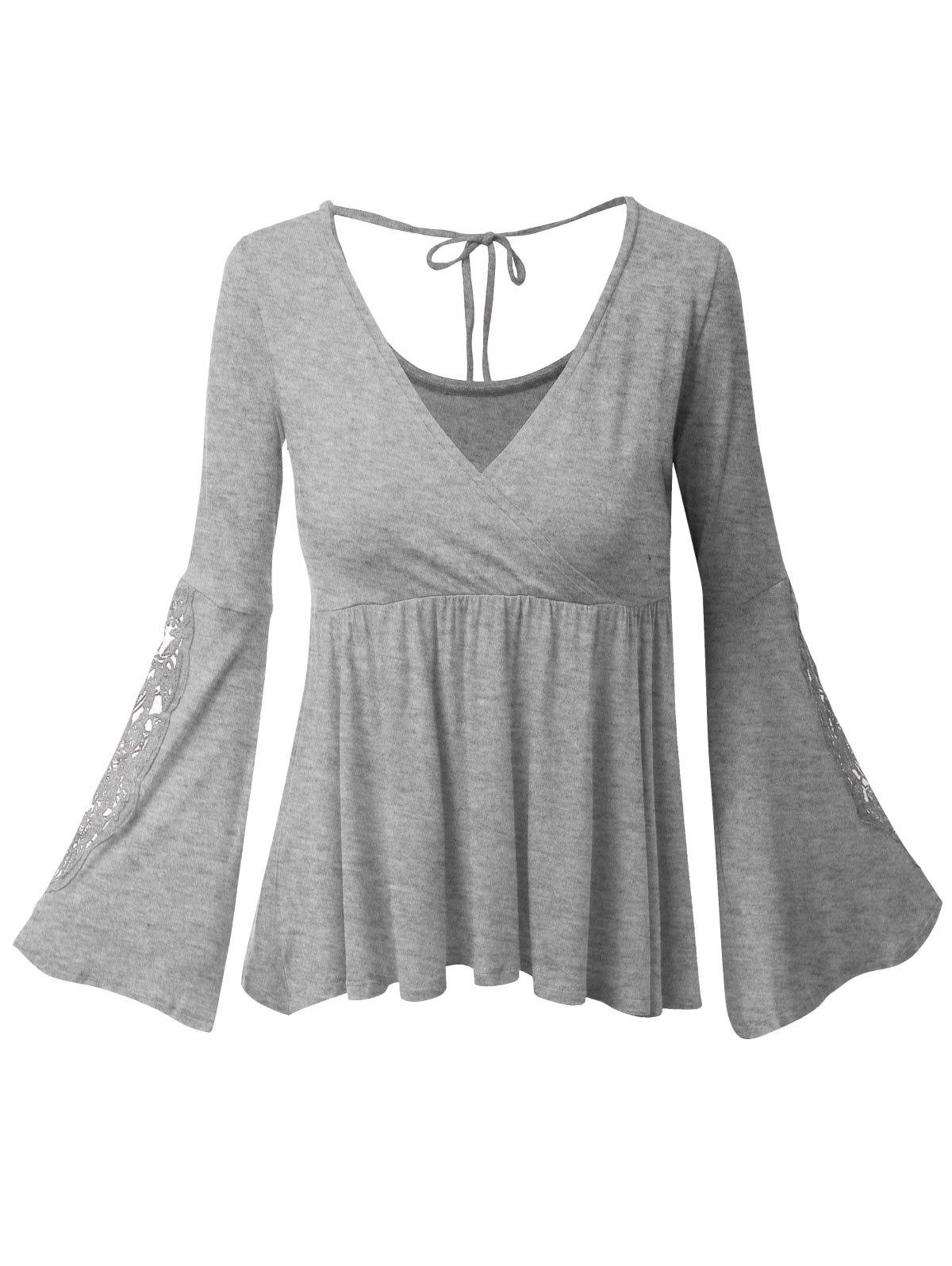Plus Size Surplice Bell Sleeve Lace Panel Tee - GRAY 3XL