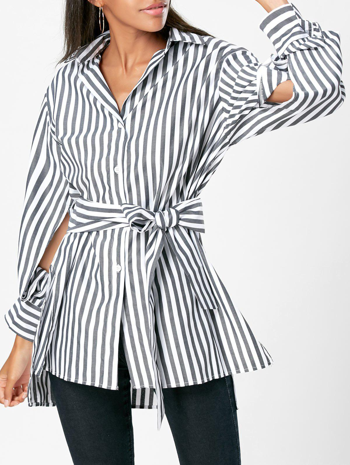 High Low Slit Striped Shirt with Belt - STRIPE S
