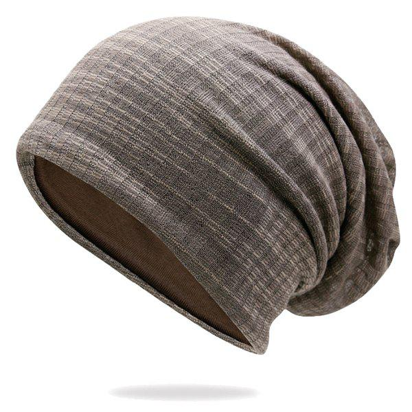 Pinstriped Cotton Yarn Blended Beanie - COFFEE