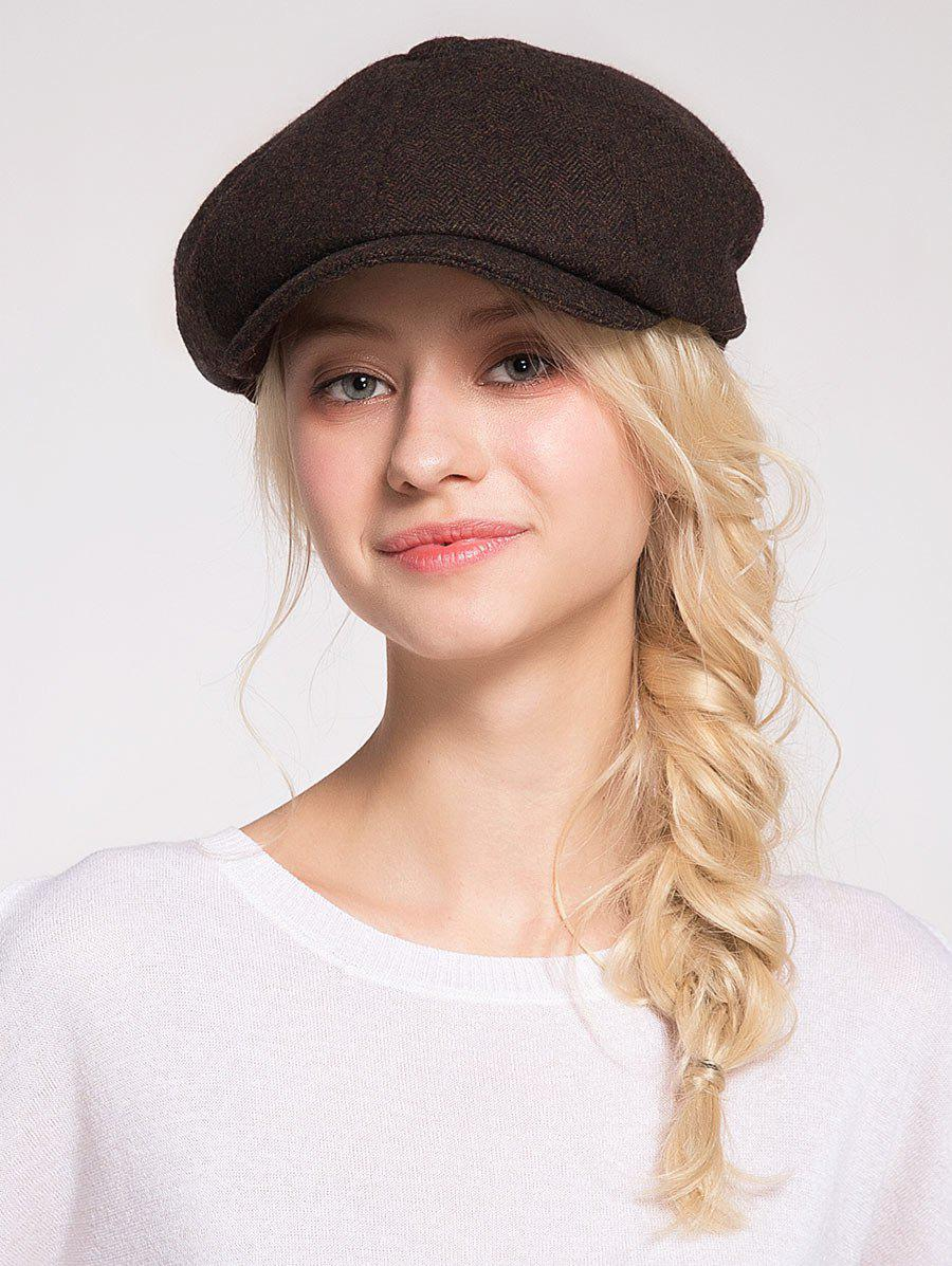 Narrow Brim Wool Blended Beret Hat - COFFEE