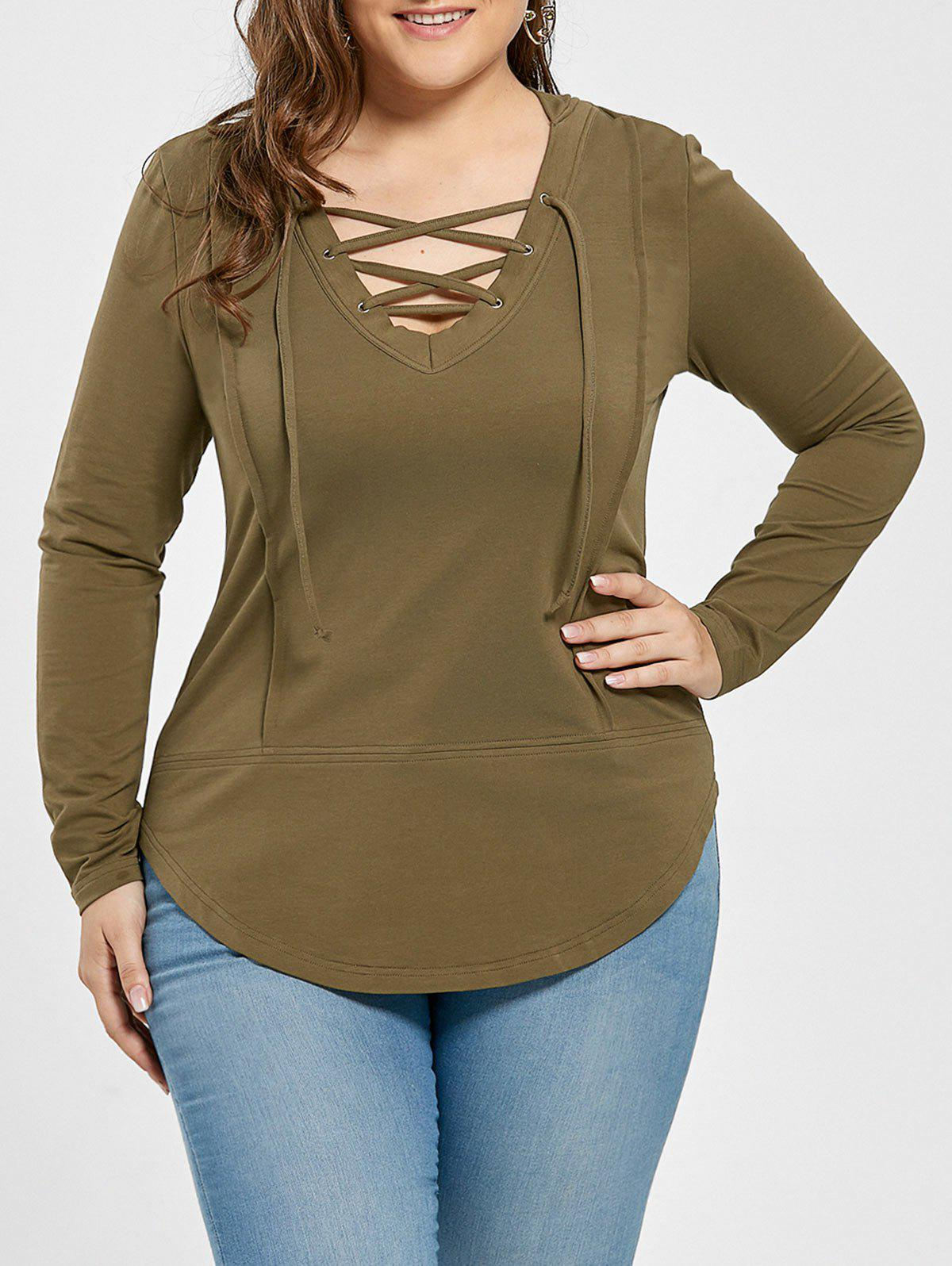 Plus Size Lace Up Asymmetrical Hoodie plus size plunge lace up hoodie