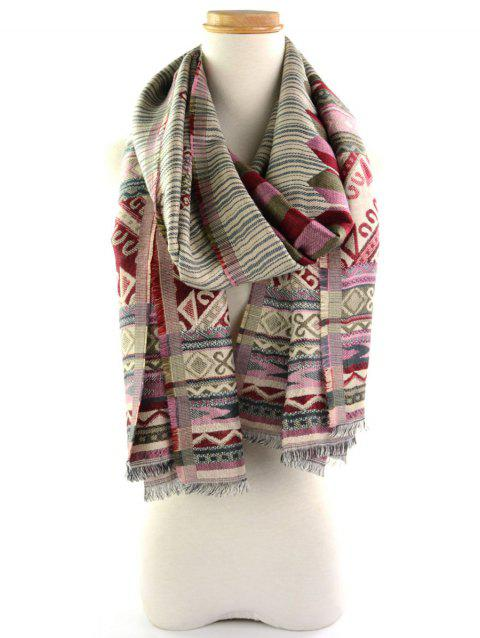 Ethnic Geometric Floral Pattern Fringe Wrap Scarf - RED/GREEN