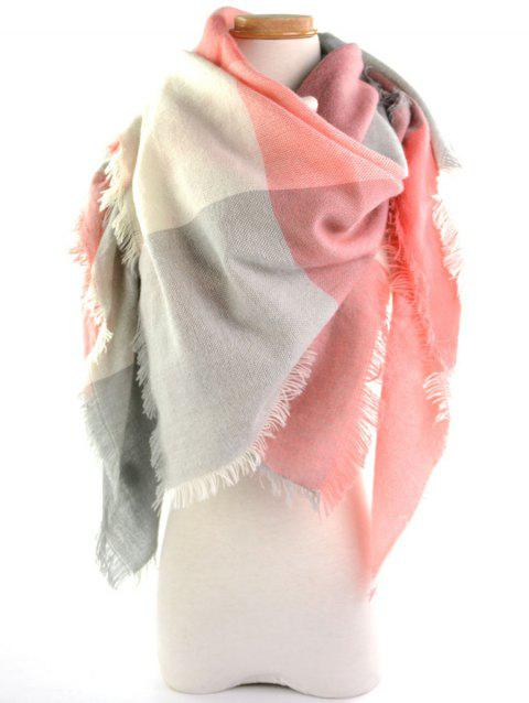 Fringe Brim Plaid Long Wrap Scarf - PINK