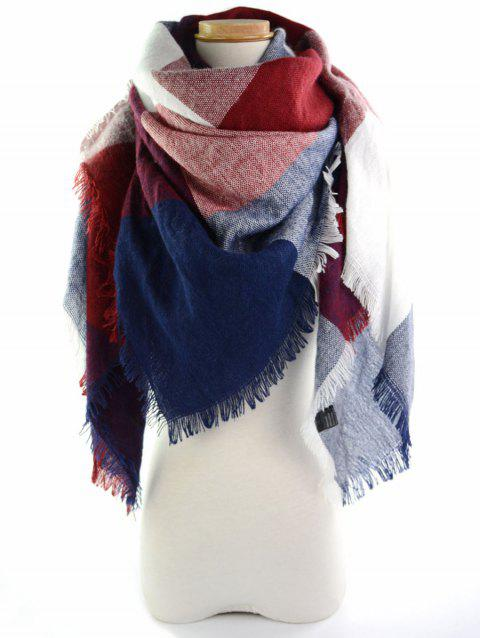 Fringe Brim Plaid Long Wrap Scarf - WINE RED