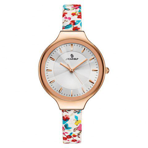 Floral Pattern Faux Leather Strap Watch - ROSE GOLD
