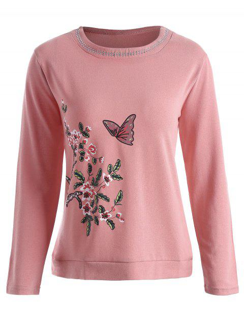 f468cfc6704 Plus Size Rhinestone Embellished Butterfly Floral Print Tee - RUSSET RED 3XL