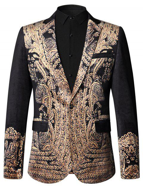 Blazer incroyable de velours de luxe royal d'or - multicolore 52