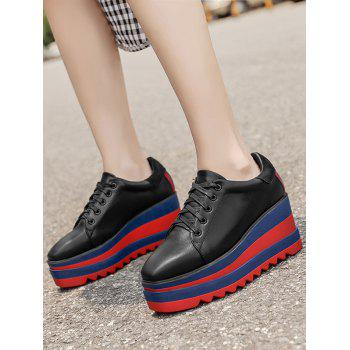 Tie Up Square Toe Wedge Shoes - BLACK 37