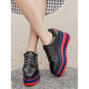 Tie Up Square Toe Wedge Shoes - BLACK 38