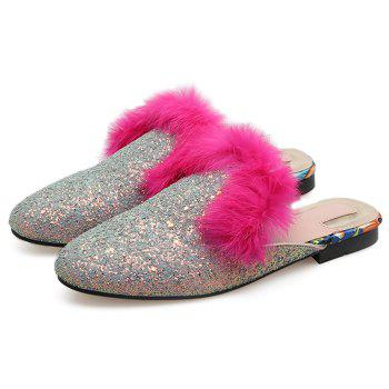 Faux Fur Sequined Mules - SILVER 37