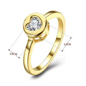 Rhinestone Circle Heart Finger Ring - GOLDEN 7