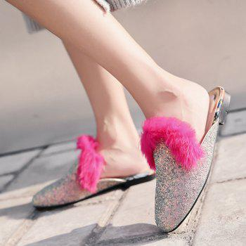 Faux Fur Sequined Mules - 38 38