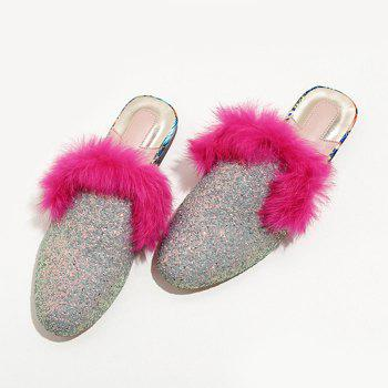 Faux Fur Sequined Mules - SILVER 39