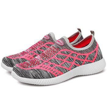 Geometric Pattern Color Block Breathable Athletic Shoes - GRAY 37