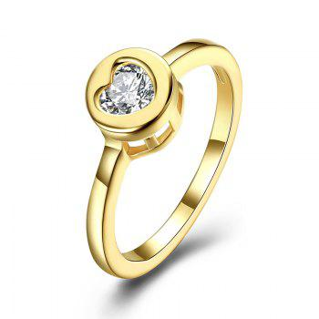 Rhinestone Circle Heart Finger Ring - GOLDEN 9