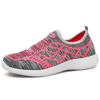 Geometric Pattern Color Block Breathable Athletic Shoes - GRAY 39