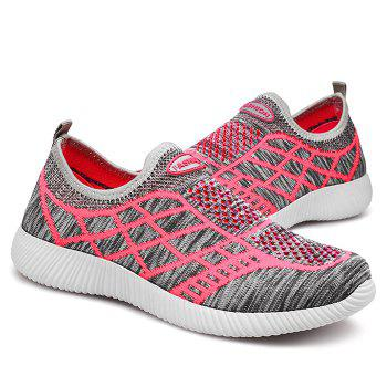 Geometric Pattern Color Block Breathable Athletic Shoes - GRAY 40