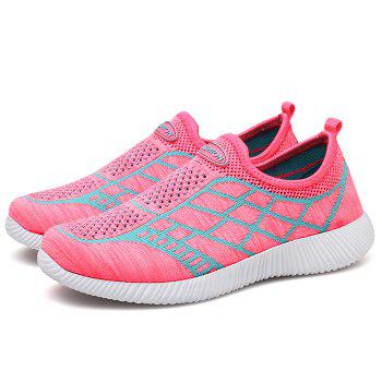 Geometric Pattern Color Block Breathable Athletic Shoes - PINK 39