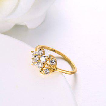 Rhinestoned Flower Leaf Finger Ring - Or 9
