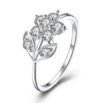 Rhinestoned Flower Leaf Finger Ring - SILVER SILVER