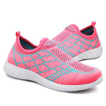 Geometric Pattern Color Block Breathable Athletic Shoes - PINK 37