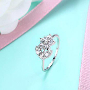 Rhinestoned Flower Leaf Finger Ring - Argent 7
