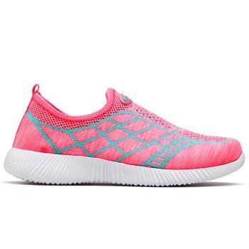 Geometric Pattern Color Block Breathable Athletic Shoes - PINK 38