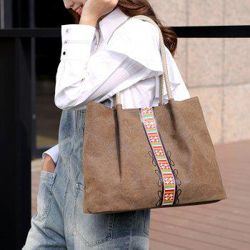 Canvas Geometric Pattern Shoulder Bag - BROWN
