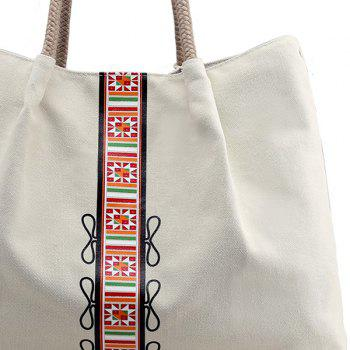 Canvas Geometric Pattern Shoulder Bag - OFF WHITE