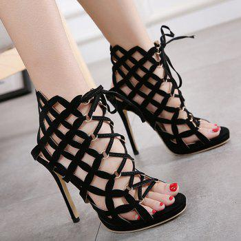 Gladiator High Heel Caged Sandals - 39 39