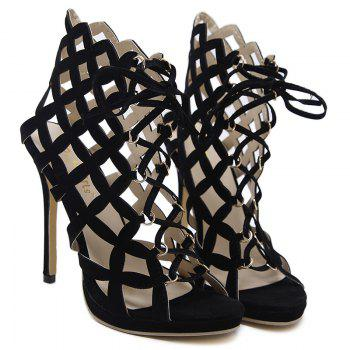 Gladiator High Heel Caged Sandals - BLACK BLACK