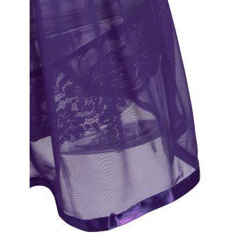 Slit Lace Sheer Slip Babydoll - PURPLE 2XL