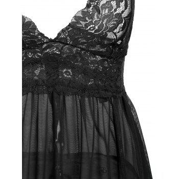 Slit Lace Sheer Slip Babydoll - Noir XL