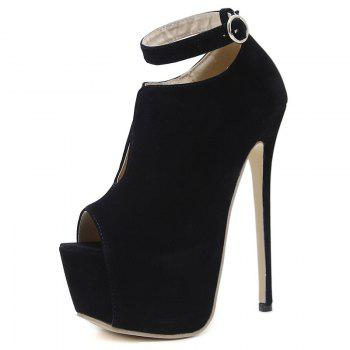 Platform Ankle Strap Peep Toe Stiletto Pumps - BLACK 37