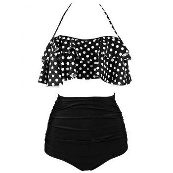 Tiered Halter High Waist Bikini Set - XL XL