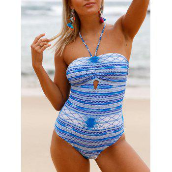 Cross Back Lace Up Swimsuit - WINDSOR BLUE S
