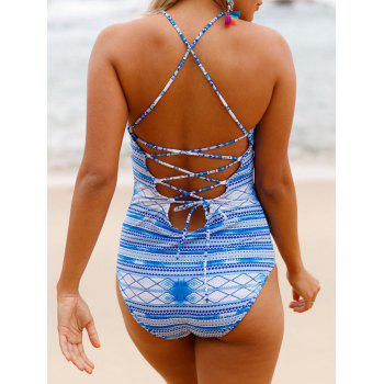 Cross Back Lace Up Swimsuit - WINDSOR BLUE M