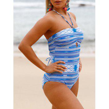 Cross Back Lace Up Swimsuit - WINDSOR BLUE L