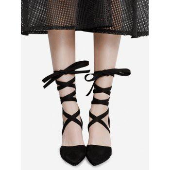 Tie Up Pointed Toe Block Pumps