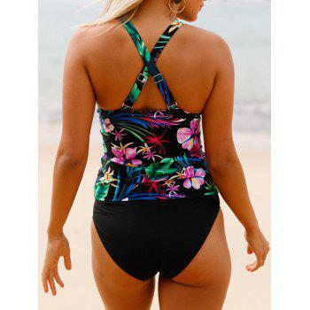 Cross Back Floral Tankini Set - BLACK 2XL
