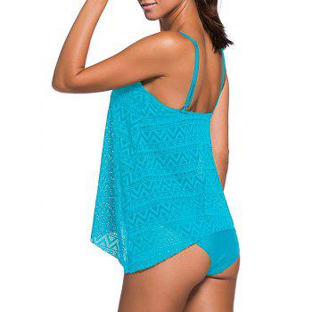Openwork Cami Tankini Set - LAKE BLUE S