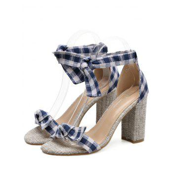 Bowknot Plaid Pattern Sandals - BLUE 40