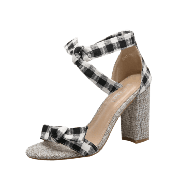 Bowknot Plaid Pattern Sandals - 40 40