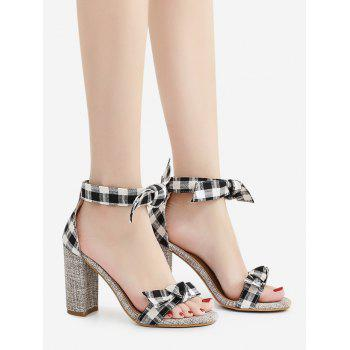 Bowknot Plaid Pattern Sandals - BLACK 40