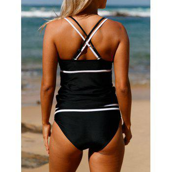 Cross Back Tankini Set - BLACK BLACK