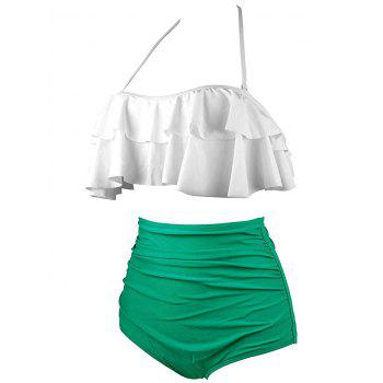 Tiered Halter High Waist Bikini Set - GREEN GREEN