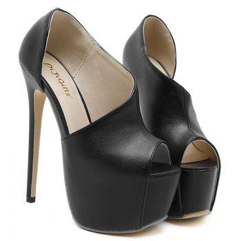 Platform High Heel Peep Toe Shoes - BLACK 38